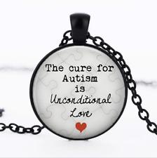 The Cure for Autism Black Glass Cabochon Necklace chain Pendant Wholesale