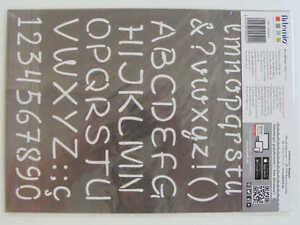 Pochoir Lettres Alphabet chiffres tous supports planche A4 Artemio DIY Home Déco