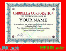 Umbrella Corp. Resident Evil.. IN RECOGNITION certificate T-VIRUS