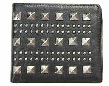 DEXTER ROZE Studded BIFOLD Men's Black FAUX LEATHER Card WALLET Black STUDS
