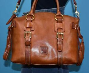 "DOONEY & BOURKE ""FLORENTINE BRISTOL"" Brown Leather Satchel Shoulder Purse Bag"