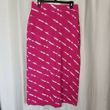NEW Medium SONOMA Pink & White Maxi Skirt, Knit - Tie Dye Look, Ankle Length