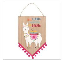 🐑 Llama Wants No Drama Kids Wall Art Pink Plaque Sign 🐑 Baby Kids Room Nursery
