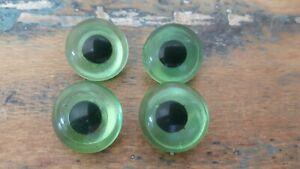 ♥Nr.A16 - Alte Glasaugen Tieraugen 4 Stück grün Pupille handbemalt m.Öse 18 mm♥