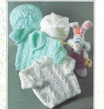 baby jacket sweater beret and hat aran knitting pattern 99p