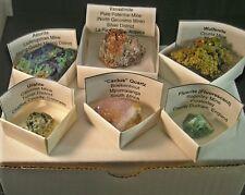 6 Crystal Specimen Set Kit Azurite Cactus Spirit Quartz Fluorite Vanadinite +