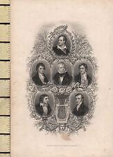 C1830 stampa Georgiano ~ Byron Keats Scott Coleridge Montgomery portrats