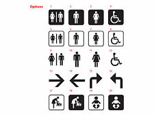 Toilet Sign Sticker Decal Bathroom Restroom Men Women Disable Directions