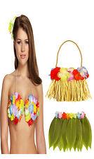 3 Set Hawaiian Hula Leaf Skirt With Flowers Hula Lei Bra Bag Fancy Dress Costume