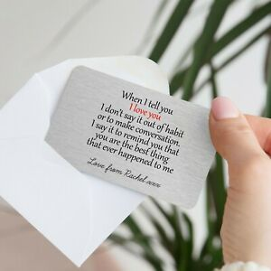Personalised Sentimental When I Tell You Love Metal Wallet Card Gift Present