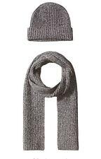 New 100% Cashmere Wool Scarf Beanie Watch Cap Knit Hat Heather Gray