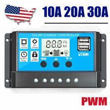 10A/20A/30A PWM Solar Charge Controller Battey Regulator 12/24V Auto DualUSB-LCD