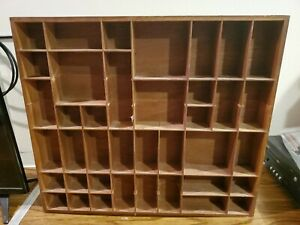 """Vintage Knick Knack Collectors Curio Wooden Wall Shelf 39 Cubicles 20"""" x 18"""""""