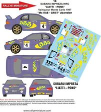 DECALS 1/24 REF 16 SUBARU IMPREZA WRC PIERO LIATTI RALLYE MONTE CARLO 1997 RALLY
