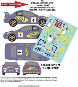 Decals 1/43 Ref 0016 Subaru Impreza WRC Colin Mcrae Rally Mounted Carlo 1997