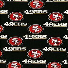 BTHY NFL Team San Francisco 49ERS Logo on Black Quilt Cotton Fabric By 1/2 Yard