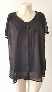 Chic Plus Size Autograph Sheer Peasant Top Size 18 BNWT RRP $59.99