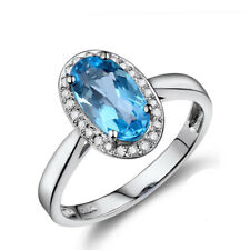 Blue Topz & Real Diamonds Engagement Vintage Ring 18K White Gold Oval Shape