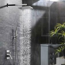 """12"""" Square Rainfall Shower Head  Brushed Nickel Shower Faucet Set for Bathroom"""