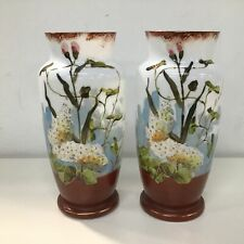 Pair of Milk Glass Painted Vases With Floral Pattern Marked 37 & 39 On Base #710