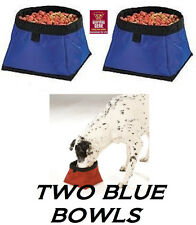 2-Pet DOG CAT BLUE WATERPROOF COLLAPSIBLE BOWL Portable Travel Kennel Water Food