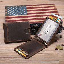 New Genuine Leather Men's RFID Slim Credit Card Holder Money Clip Brown Wallet