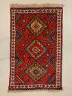 Vintage Tribal Kazak design Rug 188x112 cm medium, Red, Blue
