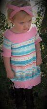 White Pink Blue Striped Heart Knit Dress Size 6 Handmade