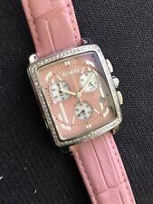New Ladies Giantto Pink Leather Strap Quartz Chronograph 28mm Watch