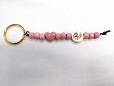CERAMIC BEAD KITTY CAT DISC & PINK MAUVE HEART SHAPE & ROUND BEADS KEY RING PETS