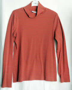 NEXT red & camel brown polo turtle neck Stripey Long Sleeve Top Size 14