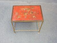 1950/70' Table basse Bronze Maison Bagués Décor Bambou, Laque de Chine Rouge