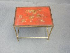 1950/70' Table basse Bronze Maison Bagués Décor Bambou, Laque de Chine Rouge