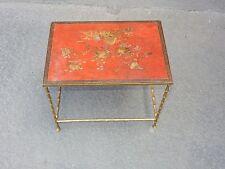 1950/70 Table basse Bronze Maison Bagués Décor Bambou, Top Laque de Chine Rouge