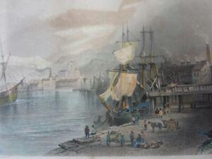 19thC (1840) hand coloured engraving Workington Harbour Cumbria