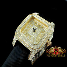 MEN'S ICED OUT YELLOW GOLD FINISH ICE MASTER LAB DIAMOND SIMULATE SQUARE WATCH