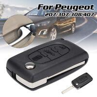 3 Boutons Coque Boîte Clé Télécommande Lame Vierge pour Peugeot 207 307 308 407