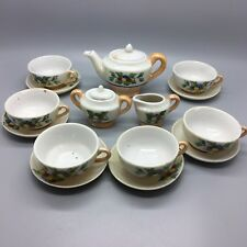 Miniature tea set for dolls house. Gold and white with fruit. Lovely Japanese ?