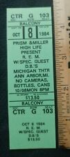 1984 R.E.M. Concert Ticket Ann Arbor Michigan Theater Reckoning D.B.'s
