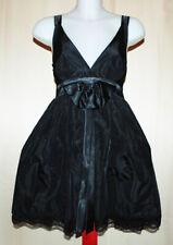 DENNY ROSE Abito Cocktail Dress Taffetà nero Fiocco raso bordi pizzo tg. M 42