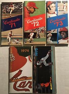 1971-1975 ST LOUIS CARDINALS 5 Media Guide LOU BROCK Bob GIBSON Joe TORRE Reitz