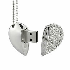 1PC 32GB Pen Drive Metal Crystal Diamond Heart USB 2.0 Flash Drive Memory Sticks