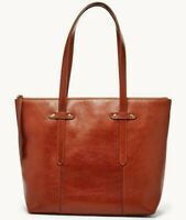NWT Fossil Felicity Brown Leather Tote SHB1981210 Shoulder Bag Brass $198 Retail