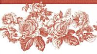 Red Line Drawing Rose Toile Off White Red Roses Floral Wallpaper Border Decor