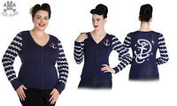 Hell Bunny Harbour Rockabilly Nautical Swing Retro Vintage Cardigan XS - 4XL