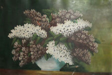 Antique still life with flowers oil painting