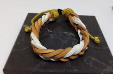 Tan/White Leather Plaited  Mens Womens Bracelet Anklet Wristband