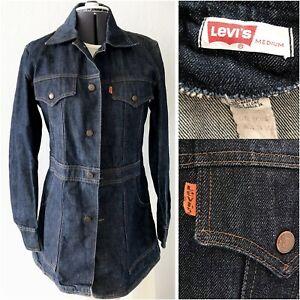 Vtg Levi's Jean Jacket Orange Tab USA Long Denim Coat EUC Womens Medium RARE HTF