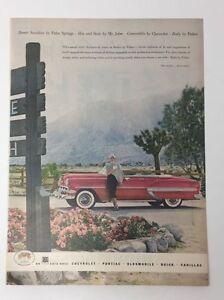 Original Print Ad 1954 GENERAL MOTORS GM Body by Fisher Convertible Pink