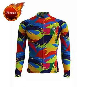 Men's Thermal Cycling Jersey Long Sleeve Fleece Winter Cycle Jersey Top S-5XL